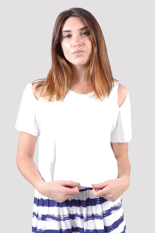 Amber Short Sleeve Open Shoulder Tee