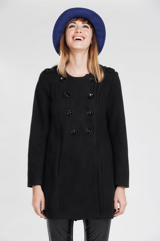 Allesandra Double-breasted Collarless  Cloth Coat