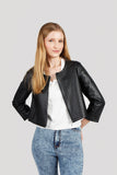 Sallie  Faux Leather Cropped Jacket
