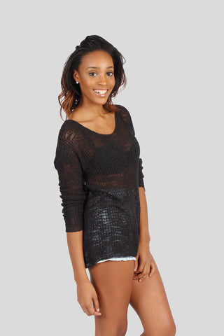 Paula V-neck Knit Sweater Black