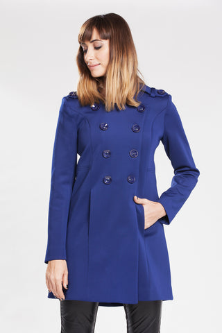Allesandra B Double-breasted Collarless Coat