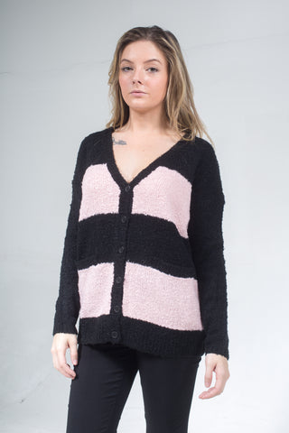 Lucia Cardigan Black/Powder Pink