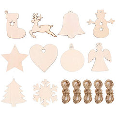 Wooden Christmas Decoration Pack of 10