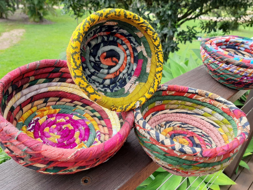 Fairtrade Sari Bowls set of 3. New stock just arrived in amazing colours.