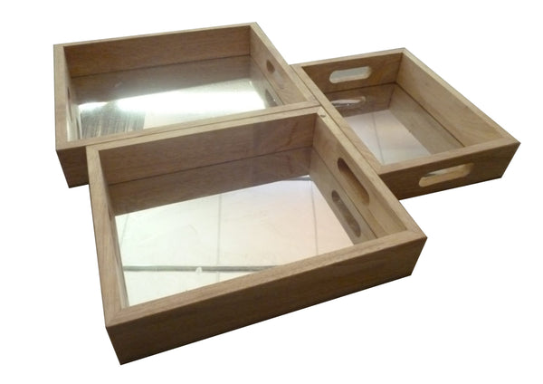 Mirror Trays set of 3 Rectangular