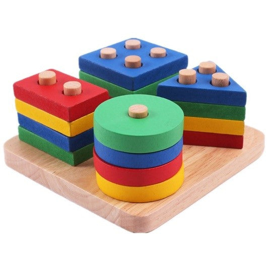 Educational, Geometric Wood Sorting Blocks