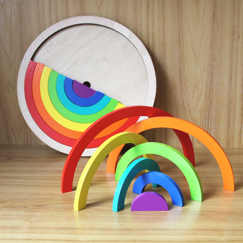 Rainbow Circle Blocks in Frame