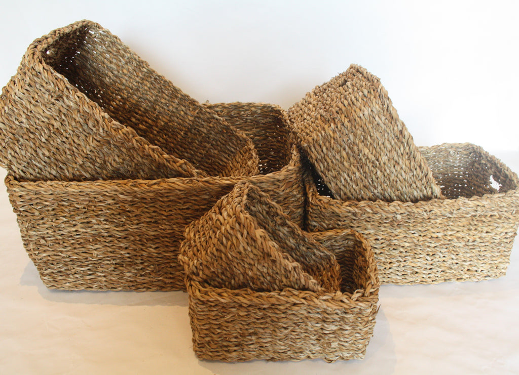 Hogla Leaf Baskets Rectangle Set of 6