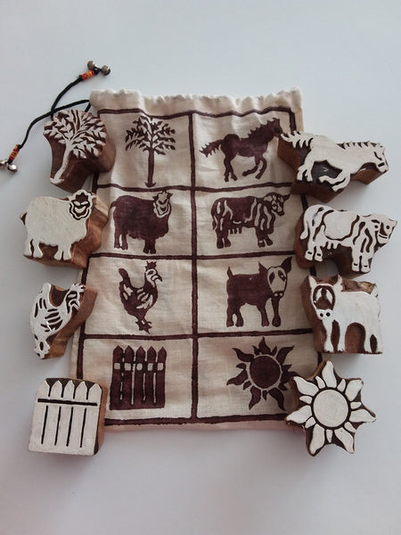 Stamps Traditional Block Print - Farm