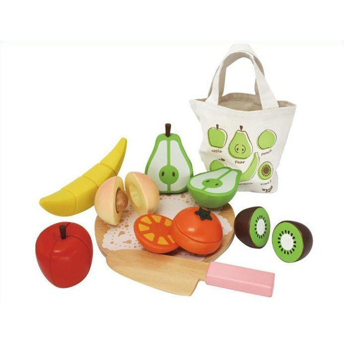 Wooden Fruit with Shopping Bag