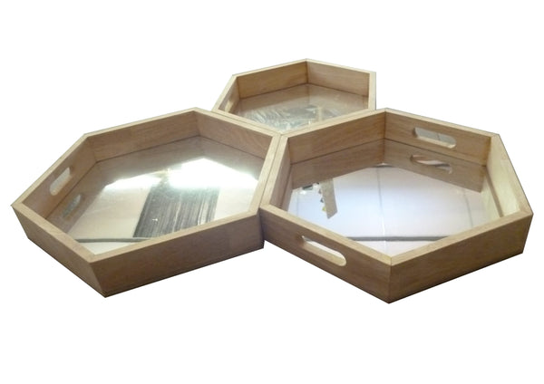 Mirror Trays set of 3 Hexagon - Pre order