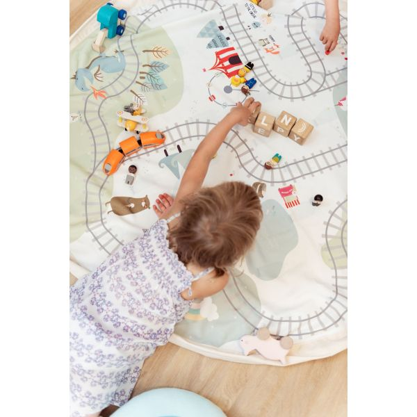 Play and Go Storage/Mat - Train Map and Bears.