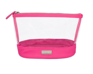 Pink Sapphire + Diamond Jetsetter Pouch - Clear and Hot Pink Cosmetic Bag | leluxace.com