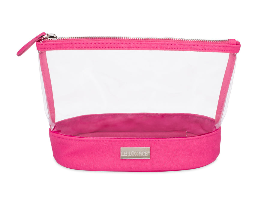 Pink Sapphire + Diamond Jetsetter Pouch - Premium Clear Vinyl and Hot Pink Toiletry/Cosmetic Bag | leluxace.com