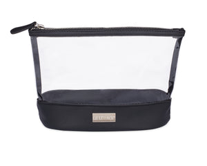 LE LÜXACE Onyx + DIamond Jetsetter Pouch - Upgrade to transparent, eco-lite vinyl as a sustainable alternative to traditional TSA toiletry bags | leluxace.com