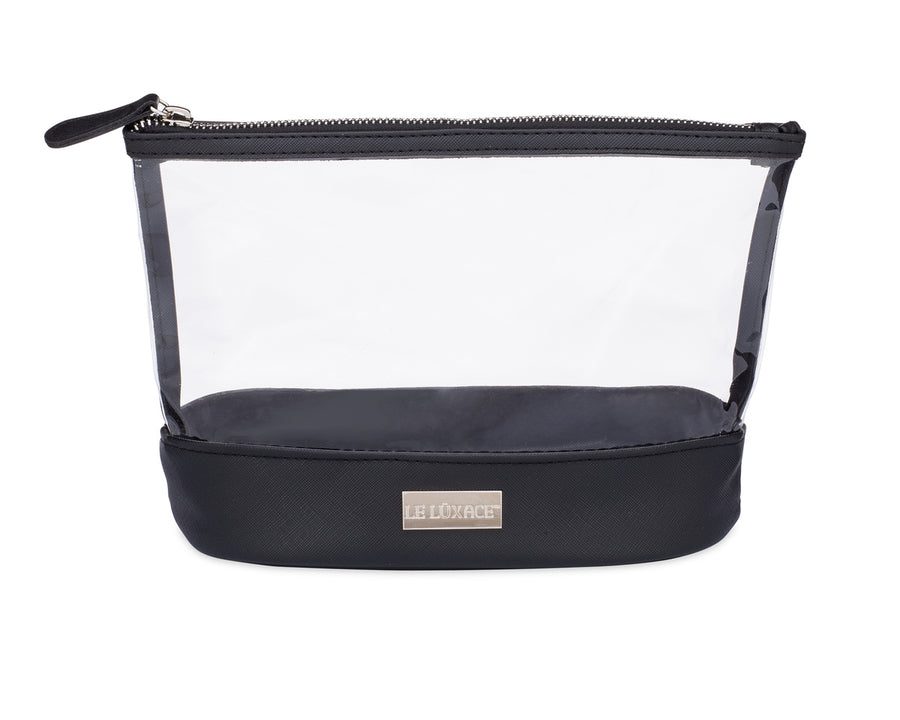 LE LÜXACE Onyx + Diamond Jetsetter Pouch - Premium Clear Vinyl and Black Faux Leather Toiletry Bag | leluxace.com