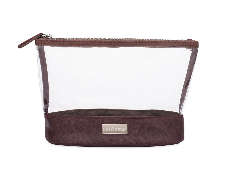 Smoky Quartz + Diamond Jetsetter Pouch - Premium Clear and Chocolate Brown TSA toiletry bag | leluxace.com