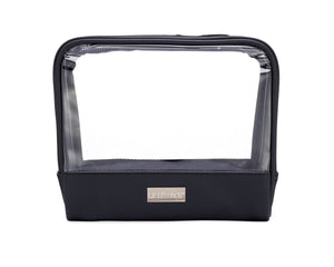 Onyx + Diamond Jetsetter Case - Premium Clear Vinyl and Black Faux Leather Organizer - leluxace.com