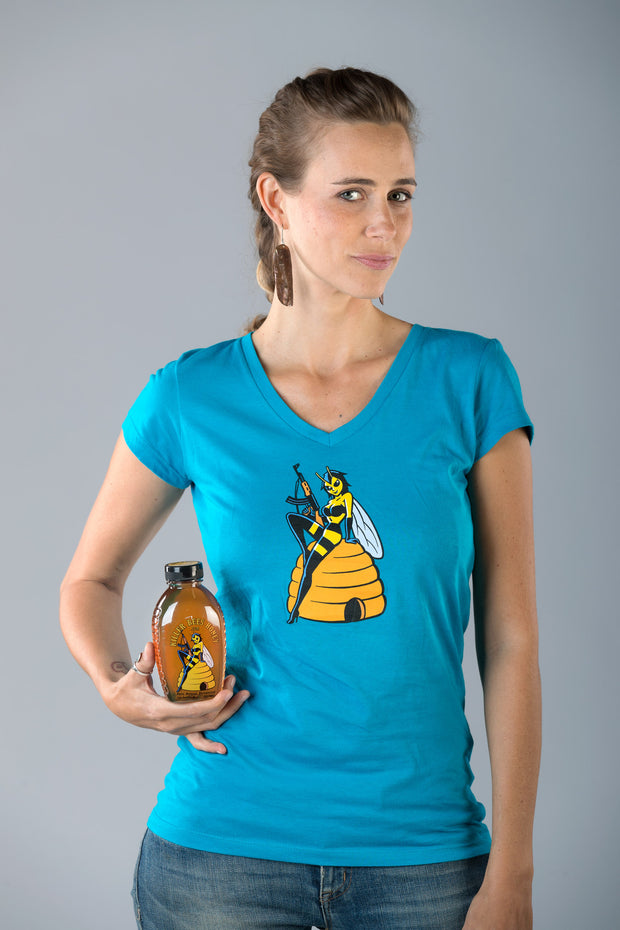 "Women's ""Naturally Tough"" Killer Queen Bee T-Shirt - Turquoise"