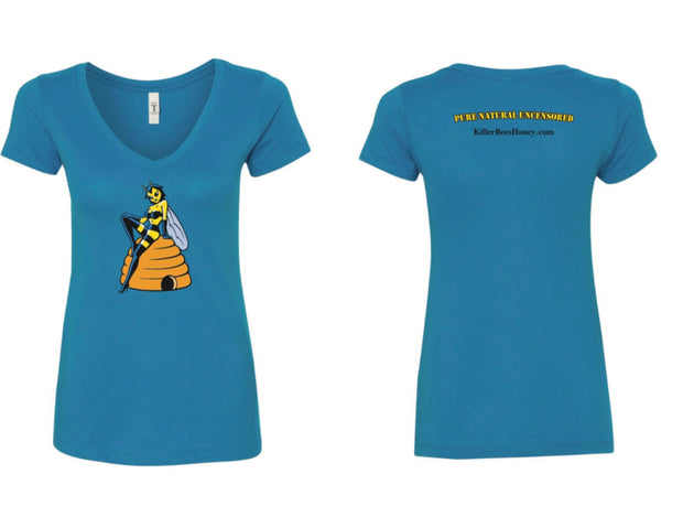 "Women's ""Pure, Natural, Uncensored"" Killer Queen Bee T-Shirt - Turquoise"