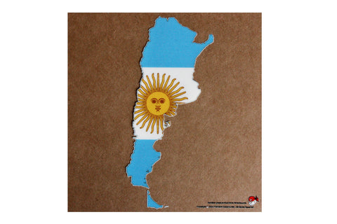 Argentina map and flag static cling Decal