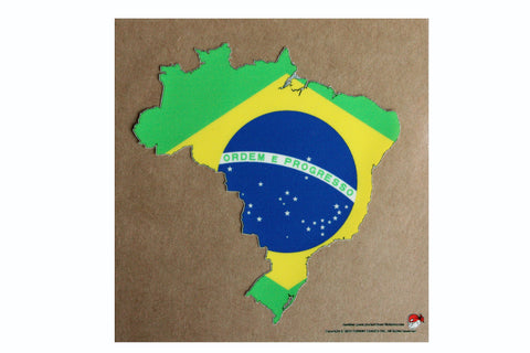 Brazil map and flag static cling Decal