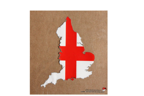 England map and flag static cling Decal