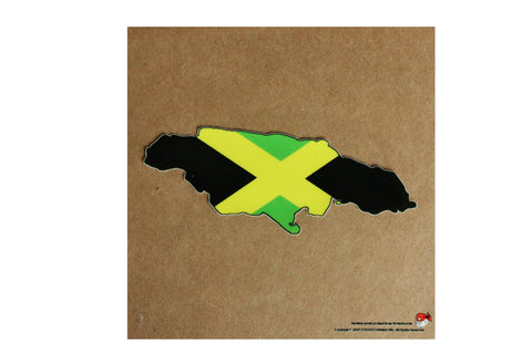 Jamaica map and flag static cling Decal
