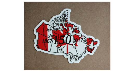 Canada 150 Commemorative map and flag adhesive Decal