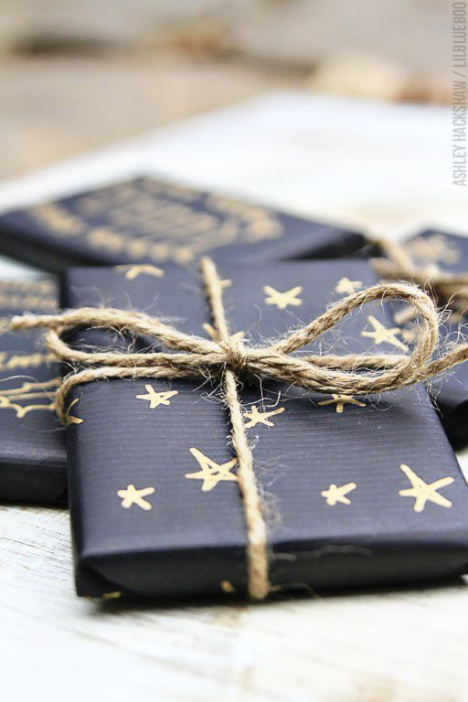 Gift Wrapping with Gold Stars
