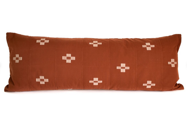 """14""""x36"""" Collection No. 1 - Rust - Long Lumbar Pillow Cover - Kente - Handwoven - Patterned"""