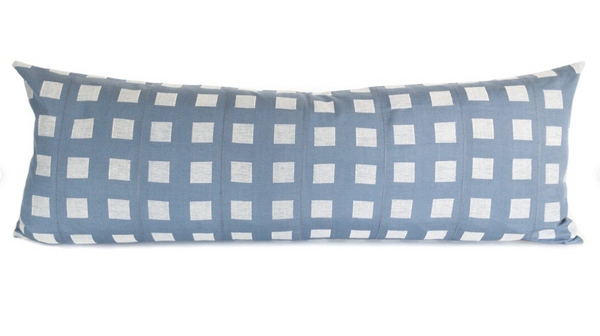 """14""""x36"""" Collection No. 3 - Blue - Long Lumbar Pillow Cover - Kente - Handwoven - Patterned"""