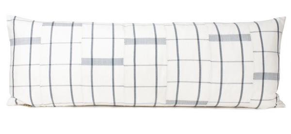 """14""""x36"""" Plaid Collection - Ivory White and Gray - Mud cloth Long Lumbar Pillow Cover - Kente - Handwoven - Patterne"""
