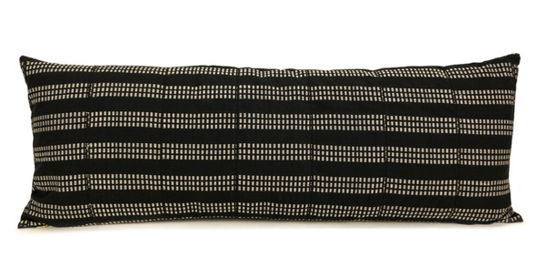 14 x 36 Ivory & Black Striped Mud Cloth Long Lumbar Pillow Cover - Handwoven in Ghana