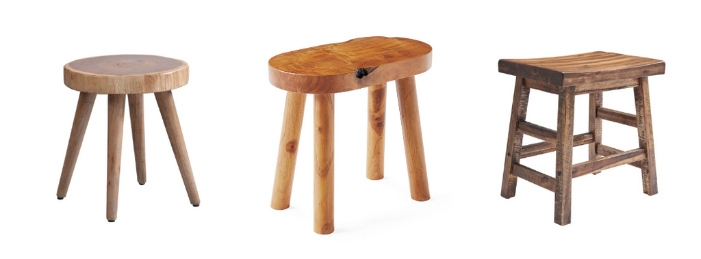 Short wooden stools