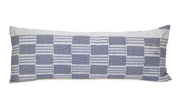 36 x 14 Navy and Ivory Check Long Lumbar Pillow Cover With Embroidery - Vintage African Ewe Tribe Kente Mud Cloth