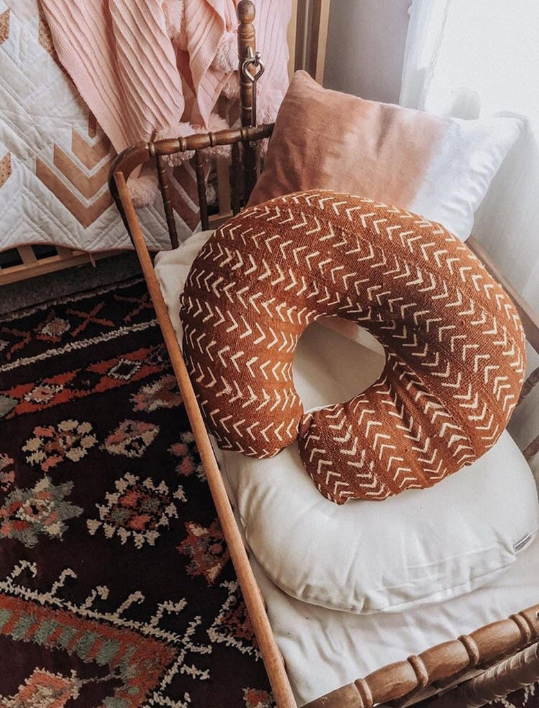African Mud Cloth Nursing Pillow Cover Rust