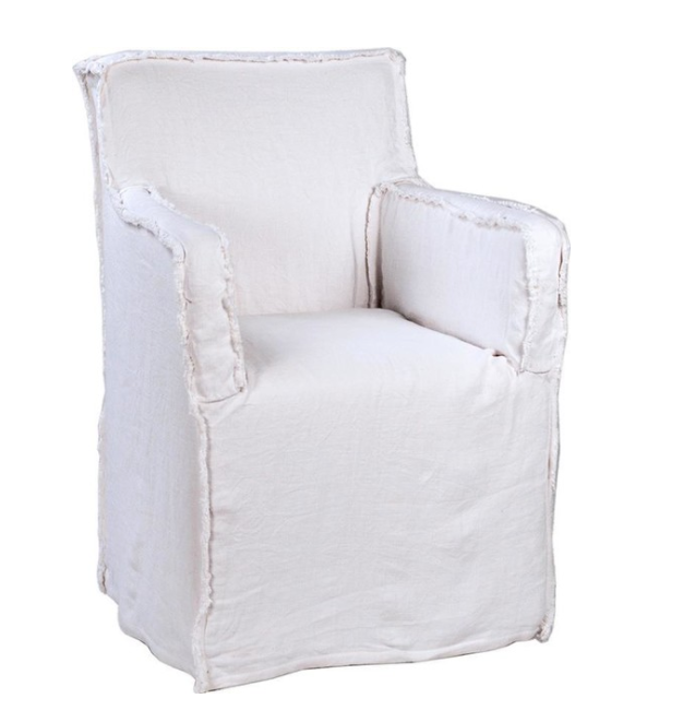 Arm Chair BARLOW White Black Belgium Wrinkle Linen Wooden Frame Wood