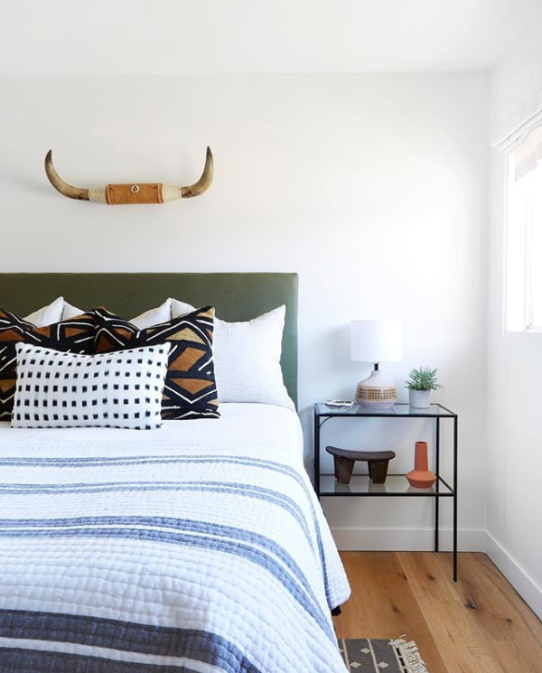 Green Headboard in Bedroom