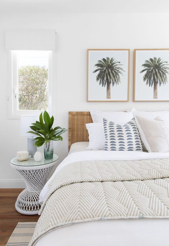 Coastal Bedroom With Palm Tree Artwork