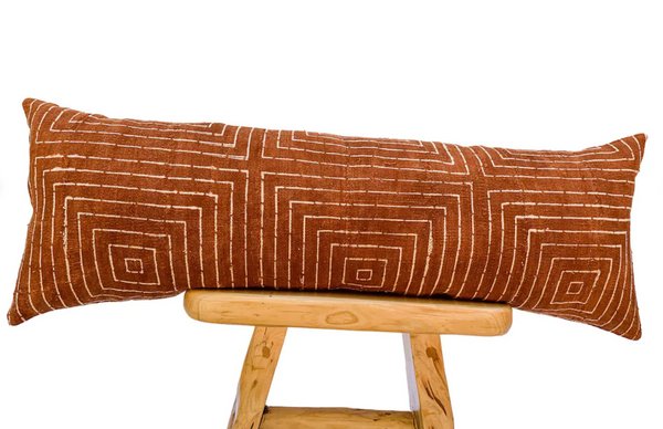 Extra long Bolster Pillow, African Mudcloth Pillow Cover, Extra Long Lumbar Pillow, Long Pillow Rust and cream Cushion
