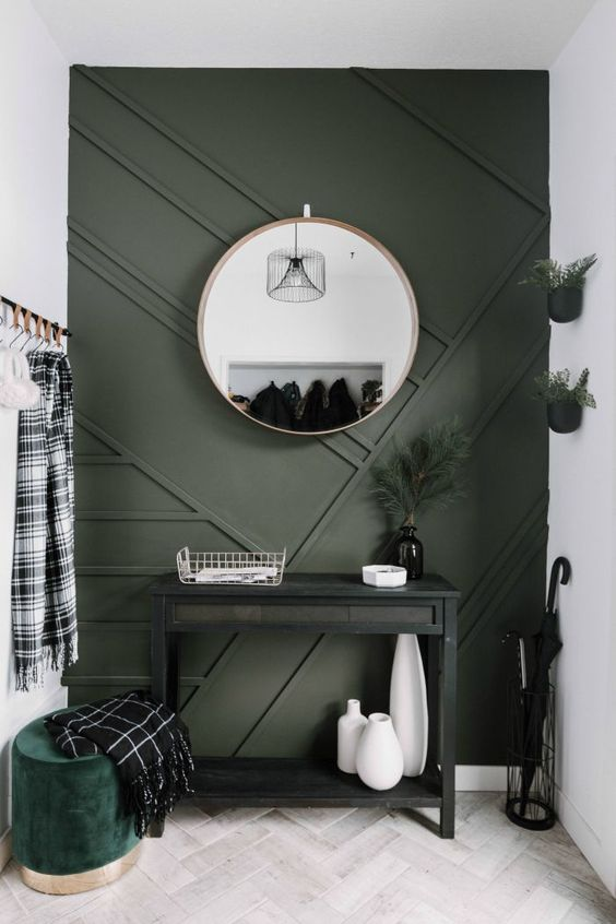 Green Entryway Wood Panel Wall