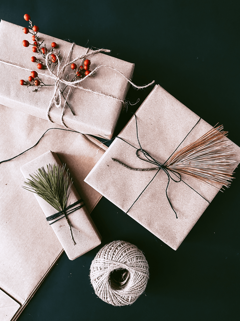 Dried leaves on gift wrapping