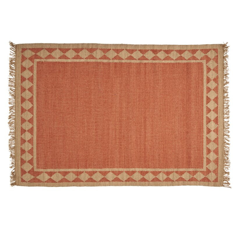 "One-of-a-Kind Dewitt Border Hand-Knotted 5'2"" x 8' Wool Burnt Orange Area Rug"
