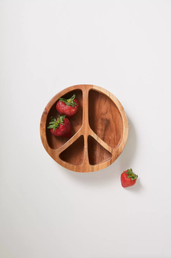 Wooden Snack Bowl Peace Sign