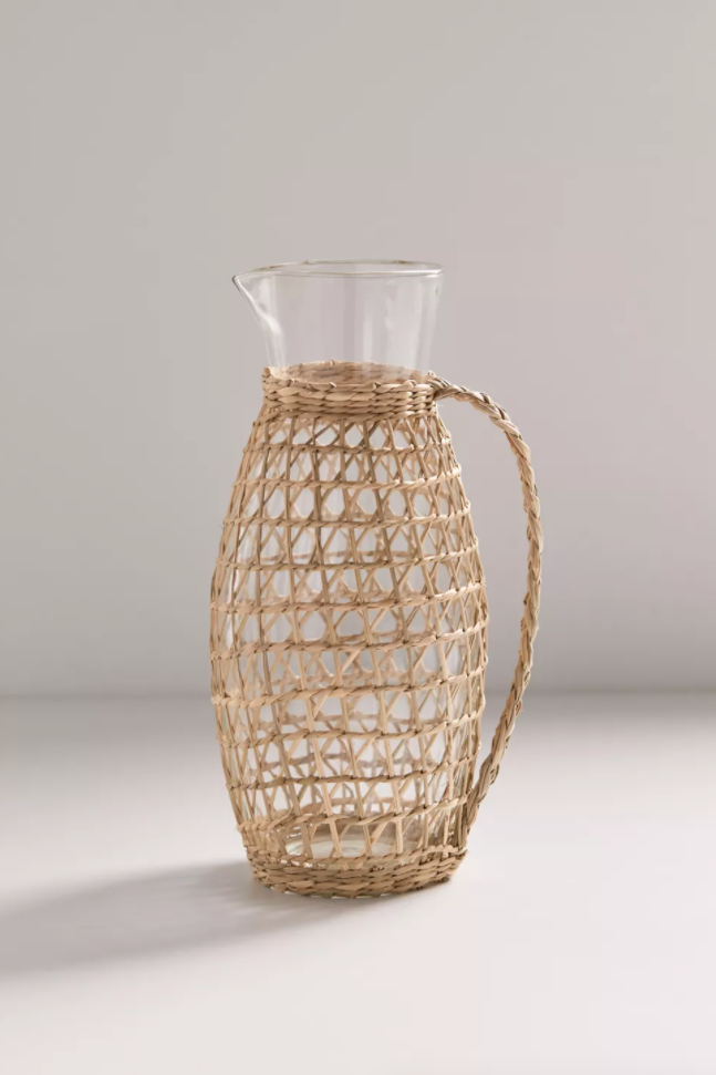 Seagrass And Glass Pitcher