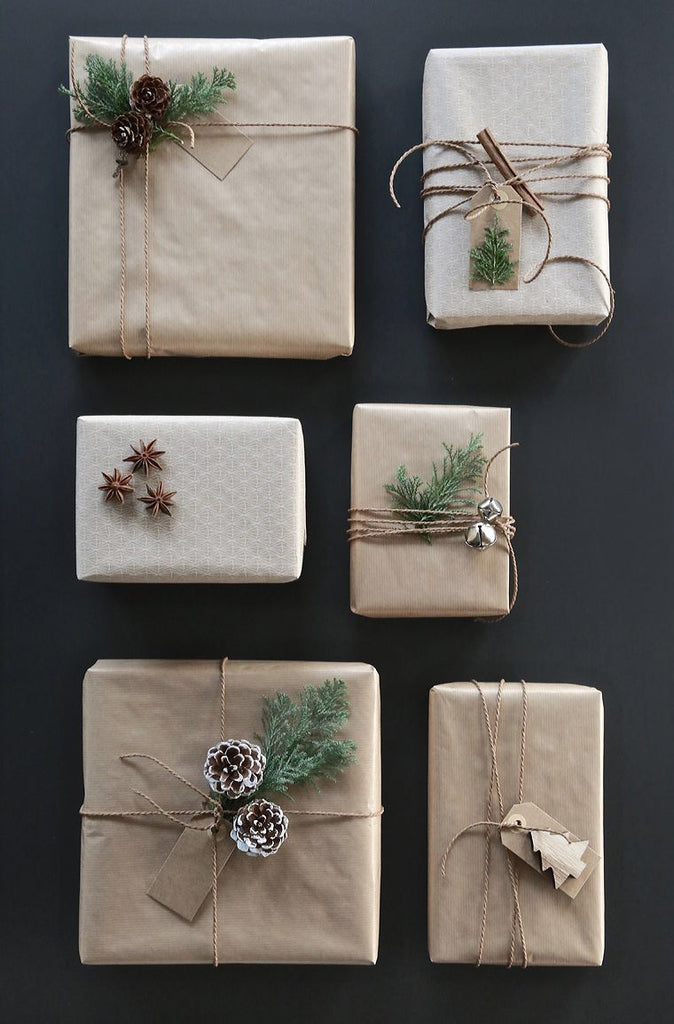 Pinecones on gift wrapping