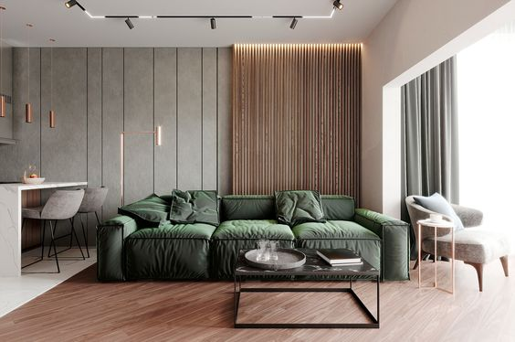 Wood Slat Wall Living Room Couch