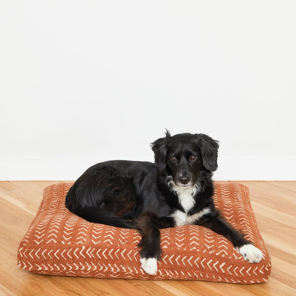 Rust Mud Cloth Dog Bed