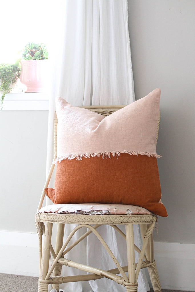 Boho Blush Pink & Burnt Orange Linen Cotton Throw pillow
